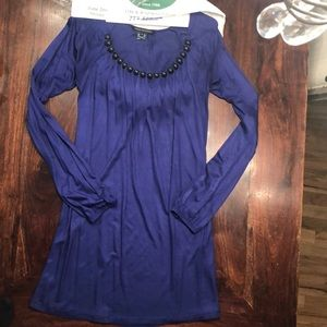 French connection blue long sleeve beaded dress 4